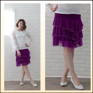 丈短か社交ダンススカート、シースルー地ミニフリ三段ティアード、すそはシルバーベビーロック。裏地つき。パープル|wing12