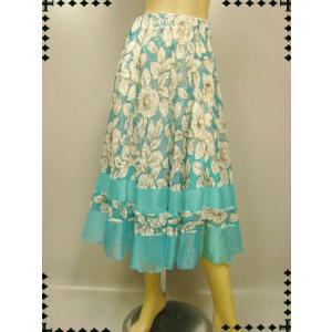 社交ダンススカート  八枚はぎフレアースカート ブルー wing12