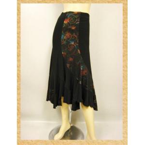 社交ダンススカート 六枚はぎイレギュラーエスカルゴフレアーダンススカート 黒茶 wing12