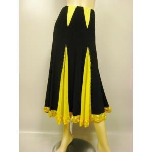 社交ダンススカート コード刺繍切り替えカラート 黄 wing12