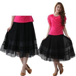 社交ダンス ダンススカート レディース ダンスウェア 衣装 MからLサイズ 黒|wing12