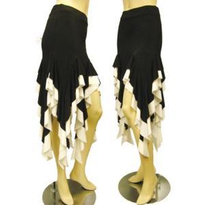 社交ダンススカート フリルイレギュラーラテンスカート 裏地は、パンツタイプで、ターンも安心 黒/白 wing12
