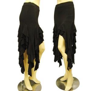 社交ダンススカート フリルイレギュラーラテンスカート 裏地は、パンツタイプで、ターンも安心 黒/黒 wing12