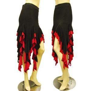 社交ダンススカート フリルイレギュラーラテンスカート 裏地は、パンツタイプで、ターンも安心 黒/赤 wing12