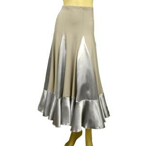 コーラス衣装 ロングスカート  楽器演奏などステージ衣装にロングスカートMサイズLサイズ 光るサテン地グレー 裏地なし ベージュ地にグレー|wing12