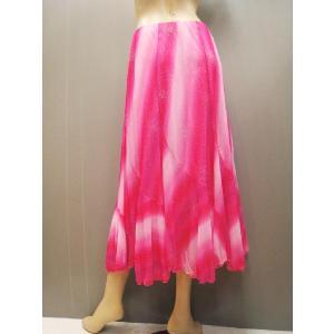 社交ダンススカート グラデーションプリントスカート ピンク wing12