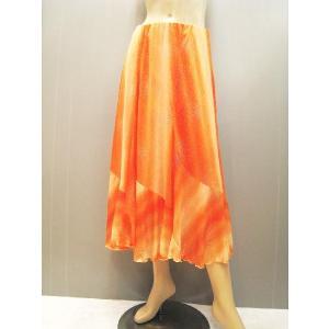 社交ダンススカート グラデーションプリントスカート オレンジ wing12