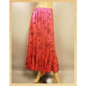 社交ダンススカート 六枚接ぎエスカルゴロングスカート。光るドット地にフロッキープリントがおしゃれ。裏地つき オレンジ系 wing12