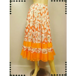 社交ダンススカート  八枚はぎプリントフレアースカート オレンジ wing12