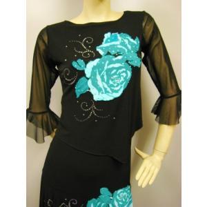 社交ダンス コーラス衣装 ダンスストップス レディース ダンスウェア 衣装  エメブルー|wing12