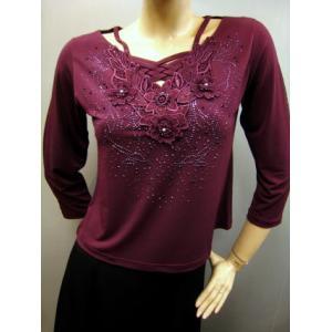 社交ダンス コーラス ダンスストップス レディース ダンスウェア 衣装 Mサイズから Lサイズ 赤紫|wing12