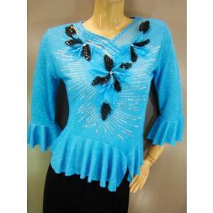 社交ダンス衣装/社交ダンス衣装/モチーフ飾りラメトップス/青|wing12