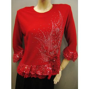 コーラス衣装 ブラウス 演奏会 ステージ パーティー カラオケ衣装 レディース ダンスウェア 衣装 Lサイズ 濃い赤|wing12