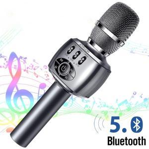 マイク カラオケマイク スピーカー 家庭用 Bluetooth5.0 ワイヤレスマイク TFカード USB充電 ポータブル 無線(B1MC2MICHi) wingchokuei
