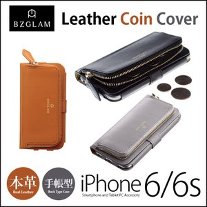 iPhone6s / iPhone6 手帳型 お財布付き 本革 ケース BZGLAM Leather Coin Cover iPhone6sケース アイホン6sケース コインケース 手帳|winglide