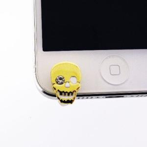 iPhone5(アイフォン5)対応のフック型イヤホンジャックアクセサリー♪   iDress ゴールドスカル iDP5-JJ7   スマホ、アイホンにぴったり♪|winglide