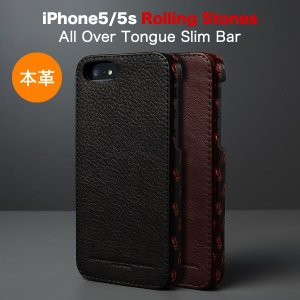 iPhoneSE / iPhone5s/5( アイフォン5s )用 ローリング・ストーンズ 本革 レザー ケース ZENUS Rolling Stones All Over Tongue Slim Bar Z3039i5S Z3040i5S|winglide
