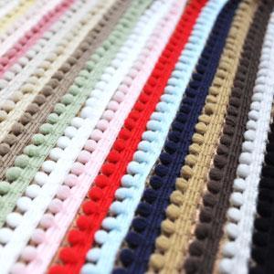 【全17色】 ぼん天付き かわいいポンポンテープ・ボンボンテープ ブレード 小 5mm