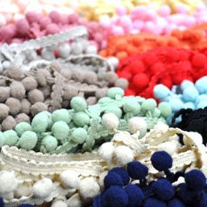 【全16色】 ぼん天付き かわいいポンポンテープ・ボンボンテープ フリンジ 中  10mm