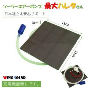 電池不要 曇りでも充分動く 薄型大 シンプル ソーラーエアーポンプ 透明カバー付
