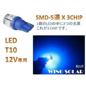 ウェッジ球 T10/T16/5SMD blue 3 chip  青  4個セット