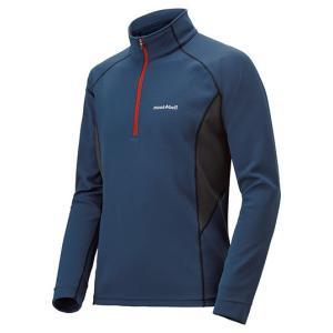 モンベル ウイックロンZEOサーマル ロングスリーブジップシャツ(長袖Tシャツ) メンズ ピュアインディゴ L 1114272 (mont-bell)|wins