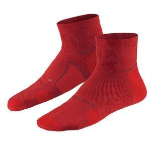 モンベル WIC.サポーテック トレッキングショートソックス(靴下/くつした)(厚手) レッドブリッ...