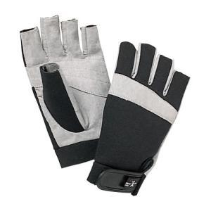 手のひらに合成皮革を用い、グリップ力を高めてつかみやすさをアップ。指先をカットしているためロープワー...