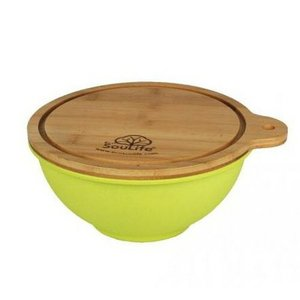(EcoSouLife) エコソウライフ Small Salad Bowl with Bamboo Wood (Lime)|wins