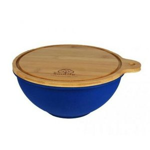(EcoSouLife) エコソウライフ Small Salad Bowl with Bamboo Wood (Sky Blue)|wins