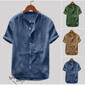 リネンシャツ メンズ 半袖 ストライプ バンドカラー 綿麻 麻 五分袖 春夏 カジュアル 新作