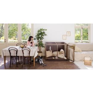 ■ケージメッシュモデル 大型犬用、優しい木製のケージ。 キャスター付き、天板背面収納で 使い勝手抜群...