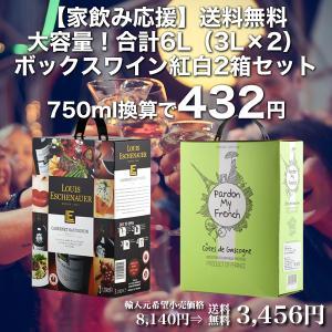 【家飲み応援】送料無料・大容量!合計6L(3L×2)ボックスワイン紅白2箱セット