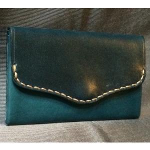 本革製 名刺ケース(ターコイズブルー)|wizard-leather