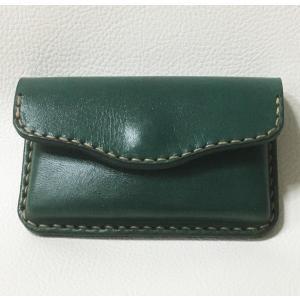 本革製 名刺ケース(絞り加工,緑)|wizard-leather