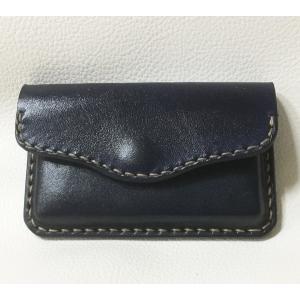 本革製 名刺ケース(絞り加工,濃紺)|wizard-leather