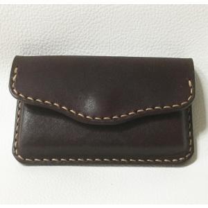 本革製 名刺ケース(絞り加工,焦茶)|wizard-leather