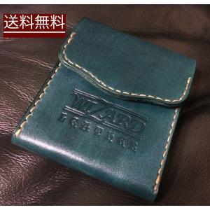 本革製コインケース(緑)|wizard-leather