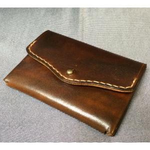 シンプル小銭入れ(焦茶・ギボシ留め)|wizard-leather