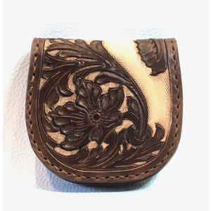 本革製コインケース(カービング、茶色)|wizard-leather