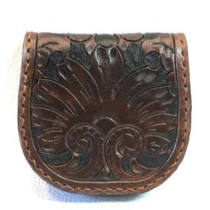 本革製コインケース(カービング、焦茶色)|wizard-leather