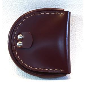 コードバン馬蹄型小銭入れ(バーガンディ・レッド/ベージュ糸)|wizard-leather