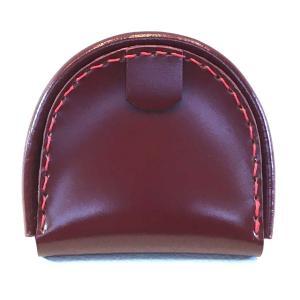 コードバン馬蹄型小銭入れ(バーガンディ・レッド/赤糸)|wizard-leather