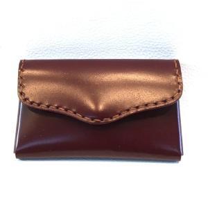 コードバン名刺入れ(バーガンディ・レッド/茶糸)|wizard-leather