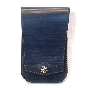 本革製スマートフォン・バッグ(コンチョ/藍色革)|wizard-leather