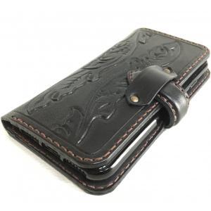 本革製iPhone7ホルダー(黒革 カービング)|wizard-leather