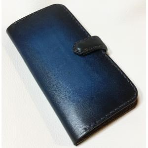 本革製iPhone7ホルダー(紺グラデーション)|wizard-leather