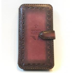 本革製iPhoneX(R)ホルダー(赤茶グラデーション)|wizard-leather