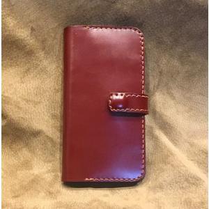 コードバンiPhoneX(R)ホルダー(ワインレッド)|wizard-leather