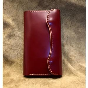 コードバンiPhoneX(R)ホルダー(2点留め/ワインレッド)|wizard-leather